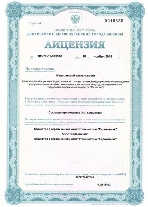 Лицензия ООО «Евроклиник» - страница 1